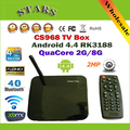 Android 4.4 Caixa de TV Rockchip RK3188 XBMC Kitkat Quad Core CS968 2G/8G 2.0MP Web Camera TV Box Media Player Com controle remoto
