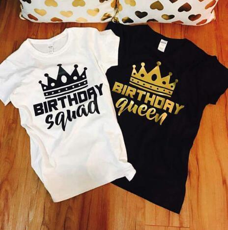 Personalize Glitter Birthday Queen Squad T Shirts