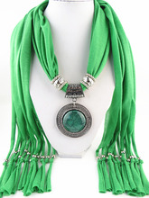 Fashion Necklaces For Women 2014 Soft Shawl Stole Wrap Silk polyester Scarves Resin Bead Charm Long Necklaces Pendants F064