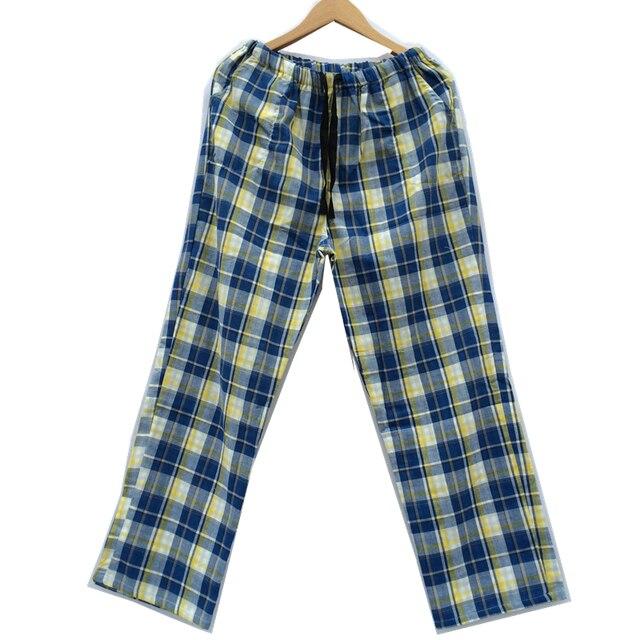 Мужские Хлопчатобумажные Штаны Пижамы Гостиной Мужской 100% Хлопок Плед Пижамные Штаны Двойной Хлопок Марля