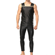 Faux Leather Men sets with Tank top Pants  Sexy Slim Club Party Stage Performance Male Clothing Sets Black Solid Fashion Punk