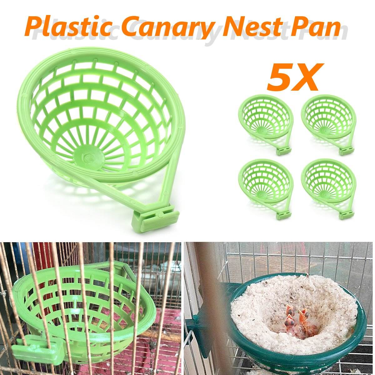 5 stk / Lot Pet Birds Nest Stor Palstic Canary Cage Pan Liner For Nesting Canaries Finches Budgies Hatching Tools Forbruksartikler