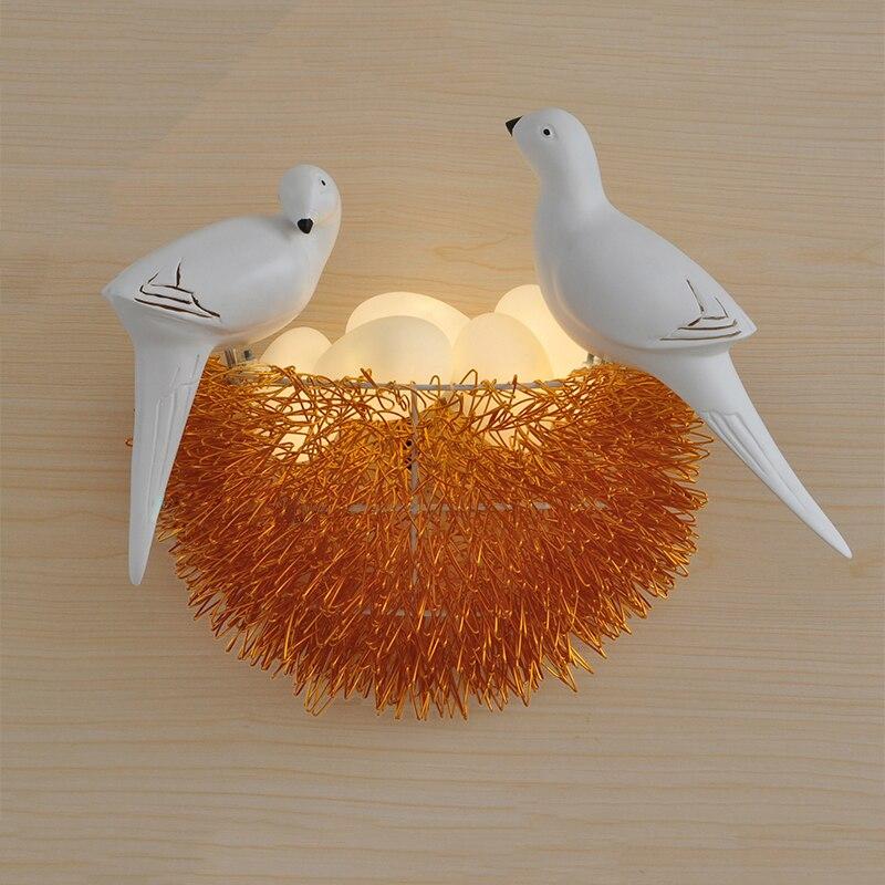 Птичье гнездо светодио дный светодиодный настенный светильник Детская Спальня Кабинет Ресторан украшения новинка настенный светильник