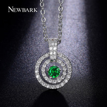 NEWBARK Couple Circles Round Pendant Necklaces Green Blue Red Clear CZ Diamond Embed Twisted Link Chain Necklace Jewelry Gifts