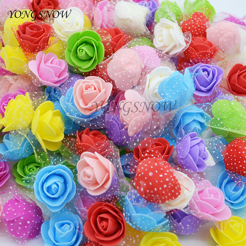 100 Unids/lote 2.5 cm Espuma PE Rosa De Flores de Seda Artificial Heads Banquete