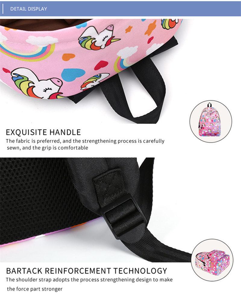 Unicorn 3D Printed Casual School Backpack Women Set 17