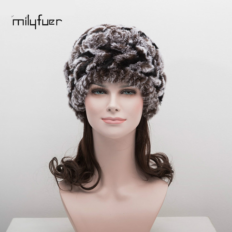 Milyfurer Rex Rabbit Fur Hat Women Colour Mixture Ball Warm Caps Autumn Winter Hats For Female Knitted Beanies Cap Female Cap adult beanie skullies rabbit fur ball shining warm knitted hat autumn winter hats for women