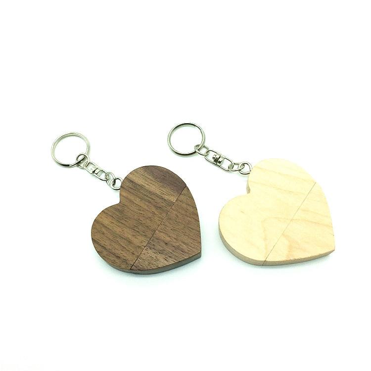 Wooden Heart Usb flash drive Memory Stick Pen Drive 8gb 16gb 32gb Company Logo customized Wedding Gift photography gift