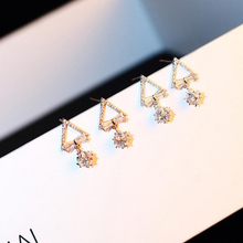2019 Square Triangle Crystal Zircon Stud Earrings Geometric Faux Stone Gold Silver Fashion Jewelry For Women