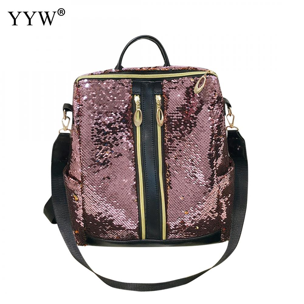 YYW Travel Backpacks Trendy Rucksack Hand-Bags Sequin Fashion-Handle Square-Shape Soft-Surface
