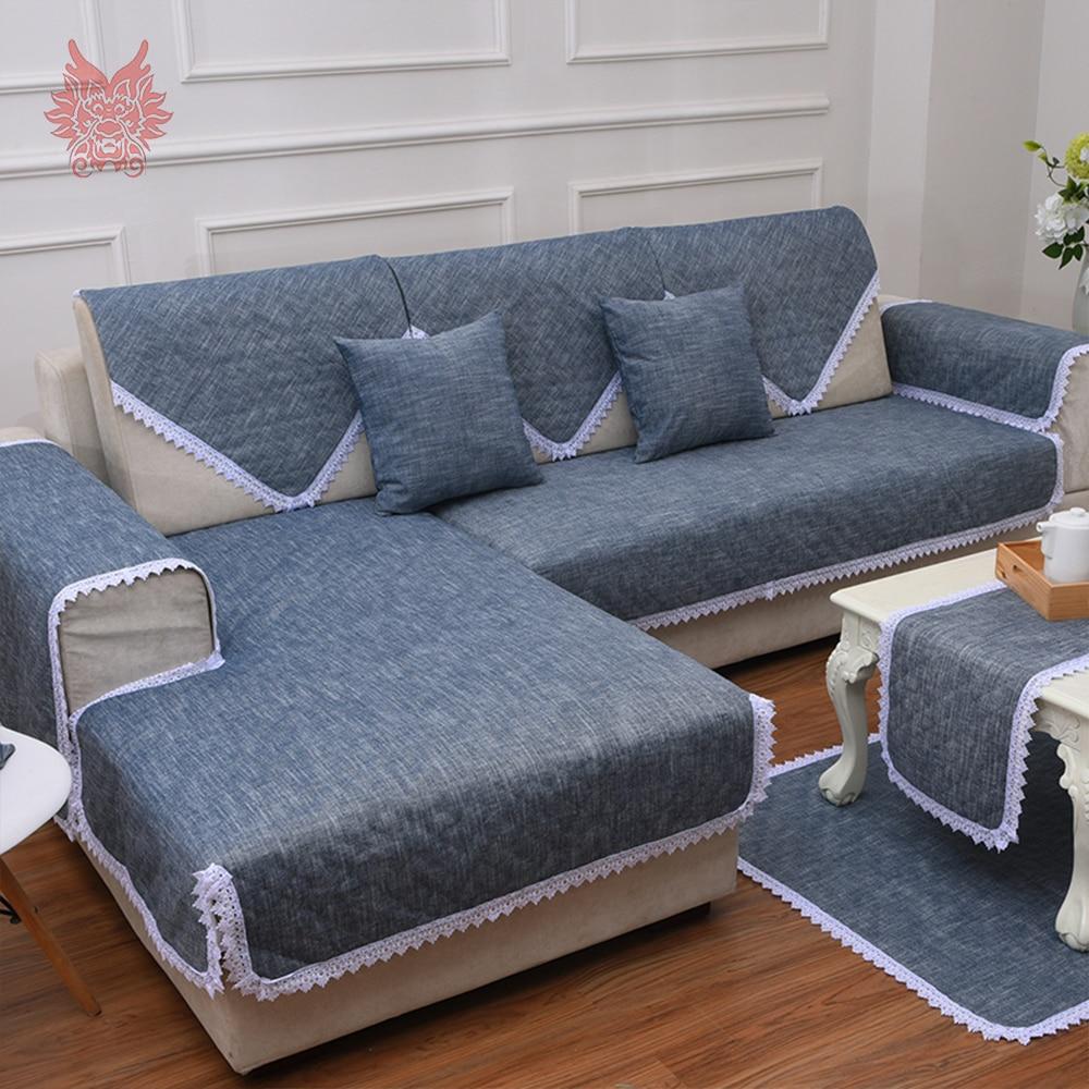 Lace decor cotton linen sofa cover slipcovers canape Anti-slip couch furniture covers capa de sofa fundas de sofa SP4403