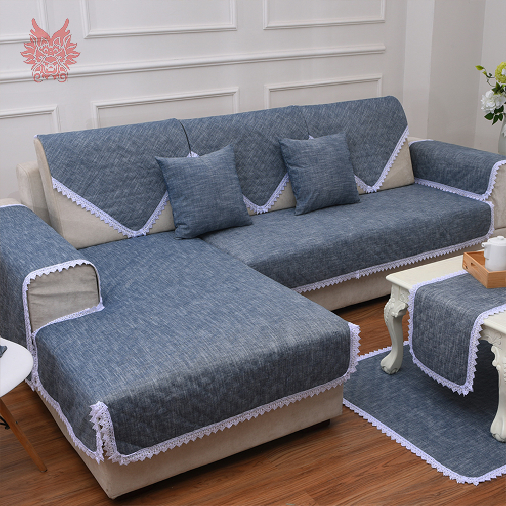 Lace decor cotton linen sofa cover slipcovers canape anti slip couch furniture covers capa de sofa fundas de sofa sp4403 in sofa cover from home garden on