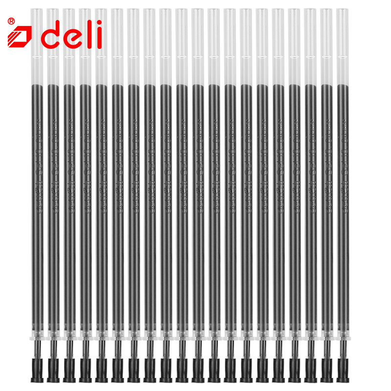 Deli 20pcs/lot 0.5mm Neutral Ink Gel Pen Refills Set Korean Stationery School Office Supplies Black Ink Pen Refills Replacement factory direct sales stationery painted time series of neutral gel pen 0 35mm agpa1502 spot 15pcs set