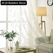 White Leaf Tulle Curtains For Living Room Embroidered Modern Bedroom Sheer Window Voile Rideaux voilage Cortinas