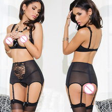 Temptation Sexy lingerie Black open bra+ rose lace Net Yarn splice erotic lingerie 3 point lenceria sexy babydoll sexy costumes