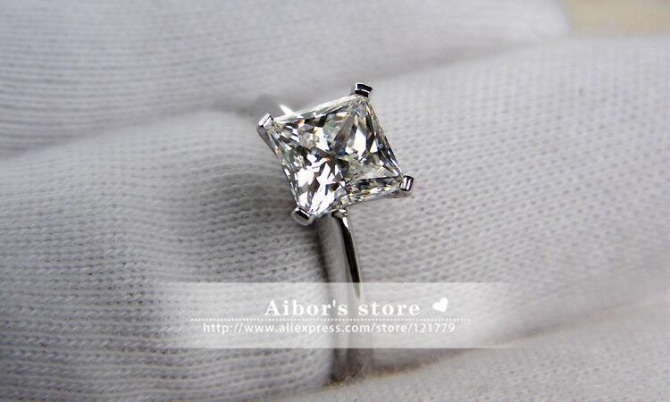 TR105 1 carat 2 carat Princess Cut Rings For Women Silver sona Simulated Gems Engagement Ring