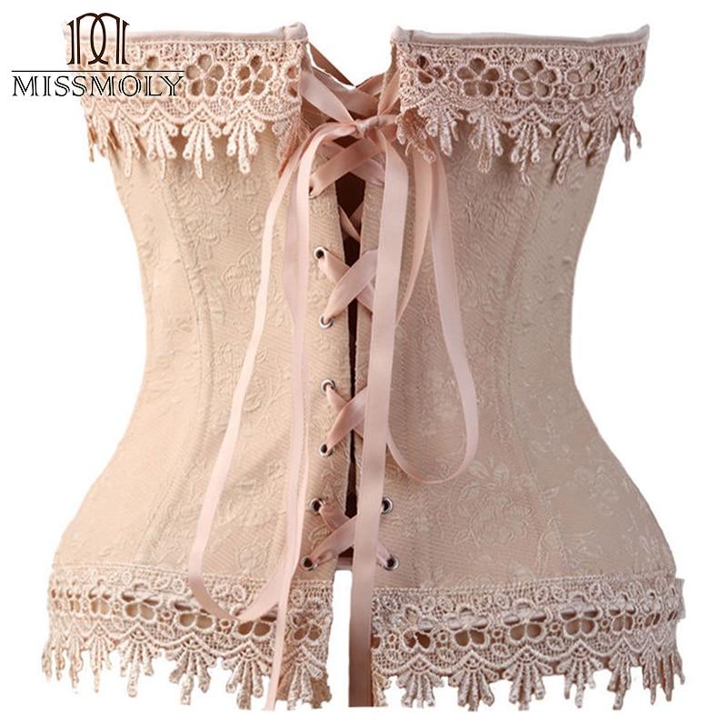 Image 3 - Miss Moly Womens Sexy Corset Top Bustier Overbust Nude Lace Up Back Lingerie Shapewear Cincher Waist Cincher Corsets S M L 6XLwomen sexy corsetcorset topcorset s -