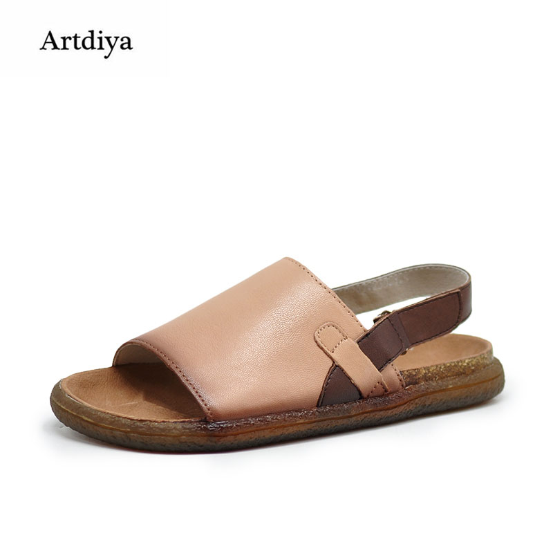 Artdiya Cowhide Art Flat Sole Open Toe Women Sandals New Style Comfortable Soft-soled Roman Sandals Handmade Leather Shoes A8861 summer shoes high quality of handmade genuine leather womens shoes open toe sandals cowhide leather comfortable flat sandals