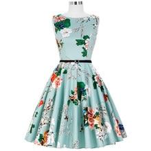 Belle poque Для женщин летнее платье Цветочный Принт Большой Размеры повседневная одежда Винтаж вечерние Pinup качели 2018 Одри Хепберн Платья для женщин