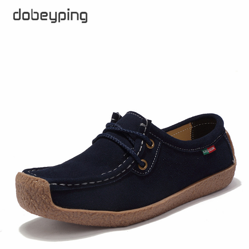 2018 Spring Summer Shoes Woman Lace-Up Women's Loafers Cow   Suede     Leather   Flats Women Shoes Moccasins Female Footwear Size 35-42