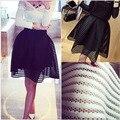 2016 verão novo estilo moda saia das mulheres listrado oco out saia fofa saia Swing preto / branco / vermelho vestido de baile XS-3XL