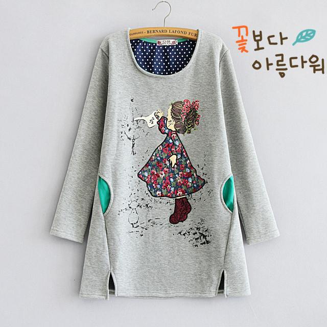 Maternidad otoño 2016 nueva capa del suéter de cachemira más el algodón Coreano flojo grande código de vestimenta de invierno para las mujeres embarazadas