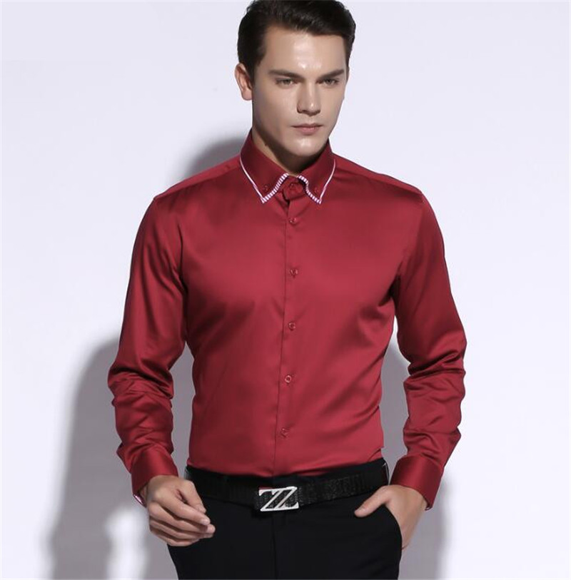 Fashion design man 39 s shirt wine red pure color double for Wine colored mens dress shirts