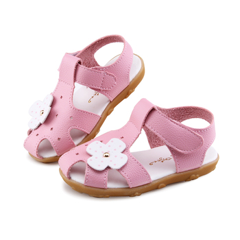 2020 Summer Girls Sandals Kids Shoes For Little Girls Children's Beach Shoes Floral Flower Sandals Sweet Insole 13.5-18CM Soft image