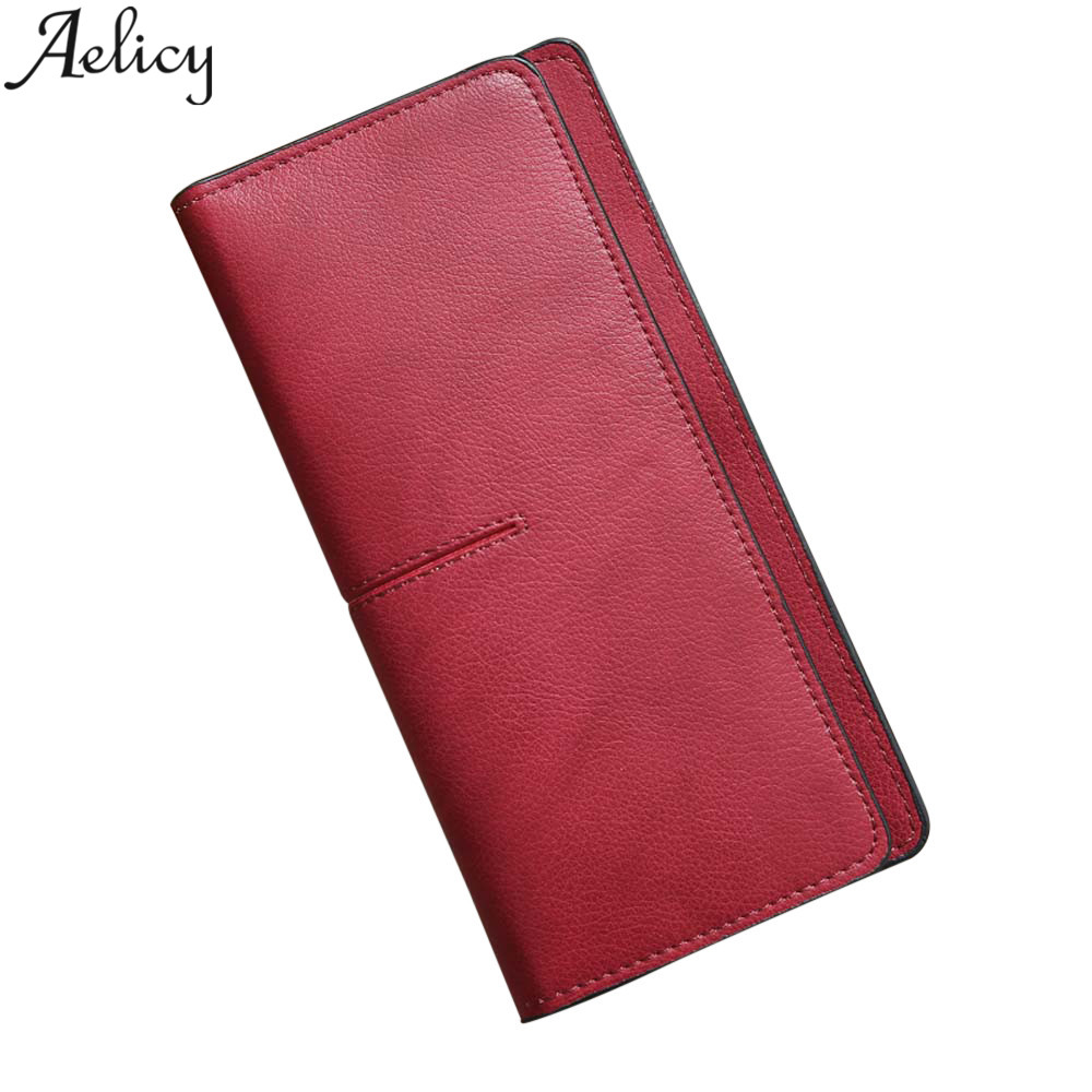 Aelicy 2018 New Female Wallet Leather Women Wallet Long Design Hasp Purses Clutch Money Coin Card Holders Wallet Carteras women wallet female 2017 coin purses holders 100% genuine leather money bags fashion sheepskin long clutch lace wallets