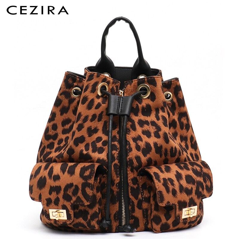CEZIRA nouveau Designer Style femmes léopard sac à dos fille mode école sac à dos vacances voyage sac cordon épaule sacs à dos