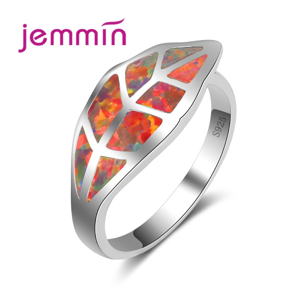Jemmin Leaf Design Women 925 Sterling Silver Party Rings Fine Jewelry Accessory Red Fire Opal Ring For Engagement Promise BijouxJemmin Leaf Design Women 925 Sterling Silver Party Rings Fine Jewelry Accessory Red Fire Opal Ring For Engagement Promise Bijoux