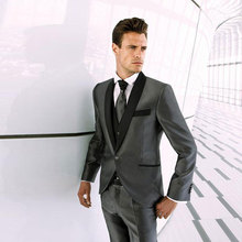Latest Coat Pants Designs Grey Men Suits Wedding Groom Tuxedos Slim Fit Terno Masculino Black Shawl Lapel Man Blazers 3Piece