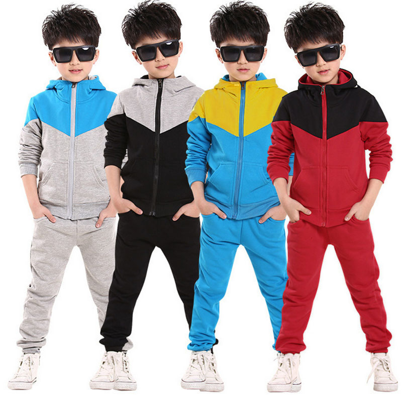 Retail Children Jogging Tracksuit Set Hooded Coat + Pants Kids Boy Baby 2018 Spring Autumn Clothes Sports Suit 4 6 8 10 12 Years