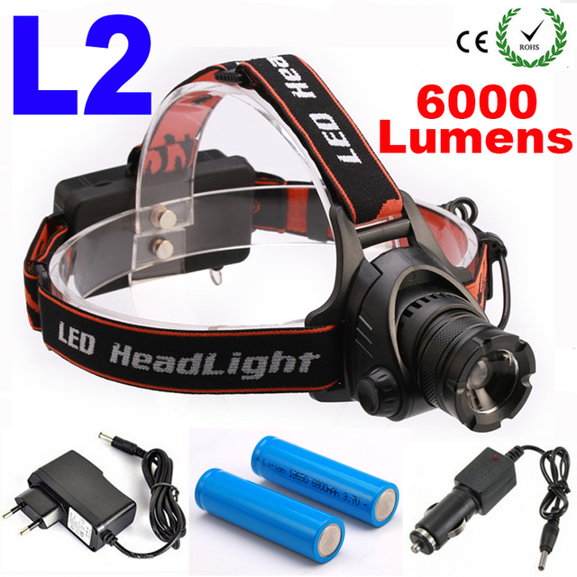 LED  Headlamp CREE L2 LED 6000Lm 3 mode Zoomable Waterproof Headlamp Headlight LED Head lamp Light Flashlight