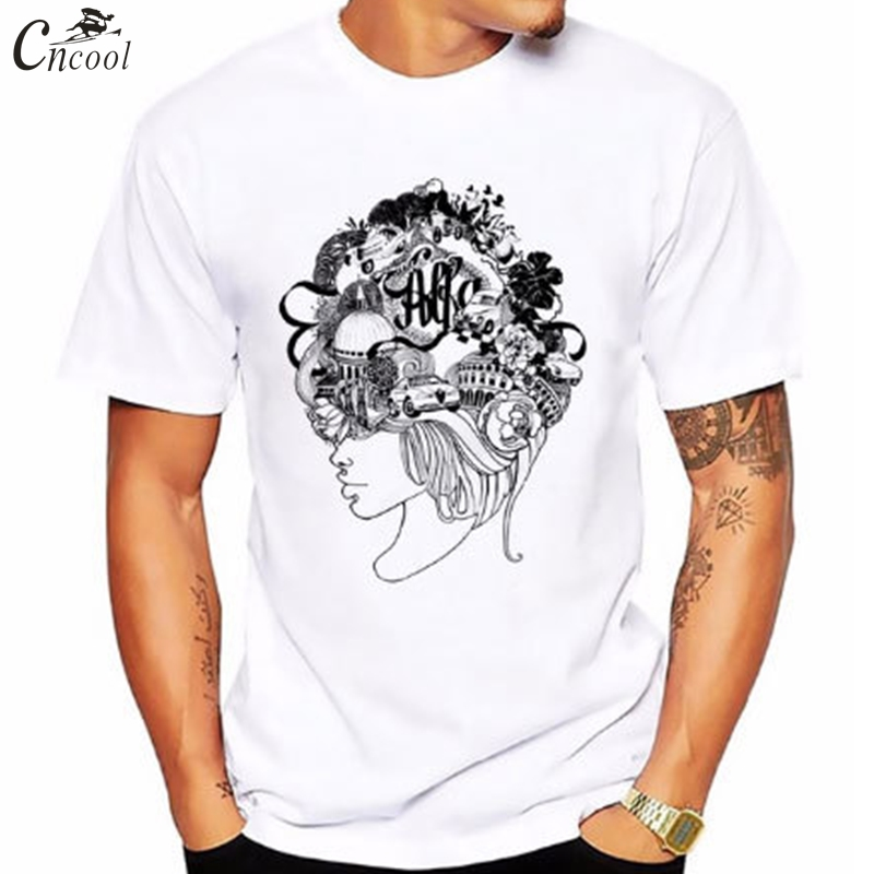 2018 New Brand Print Mans T-shirt Hand Drawn Girl With Hair Anime Streetwear T-shirt Free Shipping Short Sleeve Hip Hop
