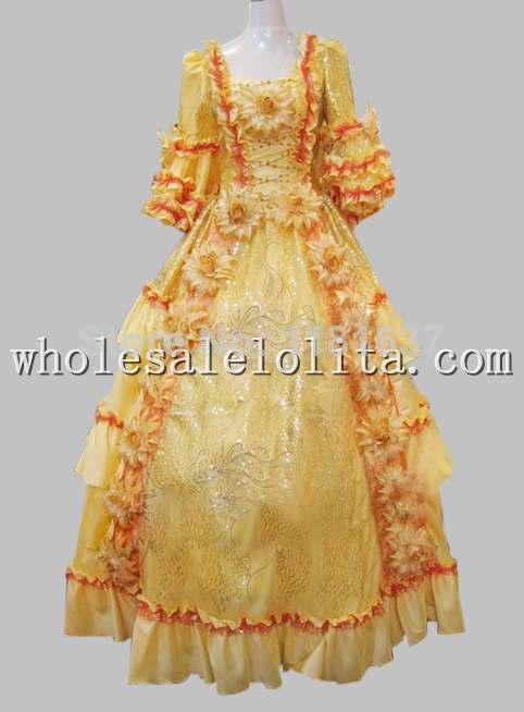Cour européenne 17 18th siècle doré Marie Antoinette époque Rococo robe de bal Costume Cosplay