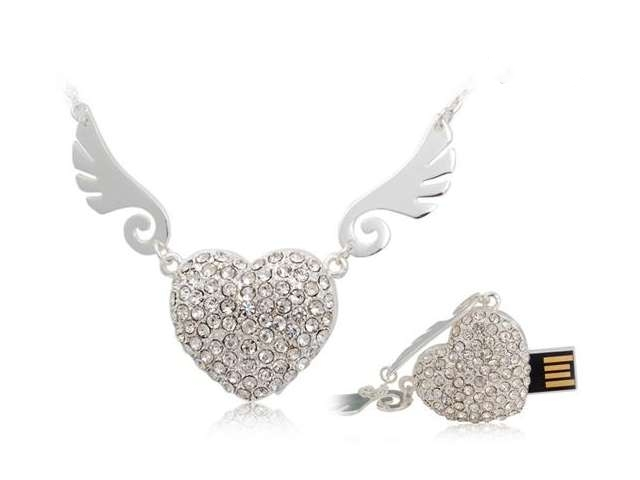 Angel Heart Hot Sale Fashion Jewelry Usb Flash Drive Gift Gifts 16gb 32gb Menory U Disk Pen Drive Pendrive 64GB Memory Stick Key