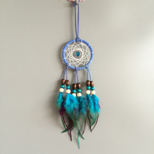 Small Dream Catcher With Purple Blue Feather Wind Chime New Gift Car Home Hanging Decoration