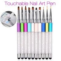 New Nail Art Brush Pen Screen Touchable Quartz Metal Acrylic Handle Carving Liquid Salon DIY Liner Nail Brush with Cap Pop 2017