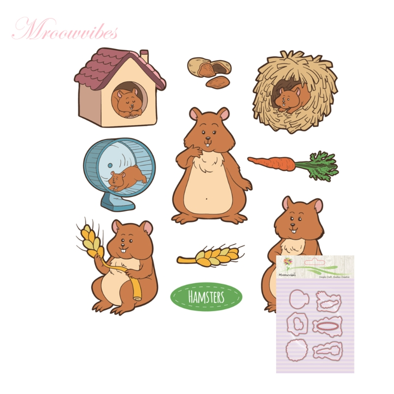 Mouse Hut Silicone Stamp Cutting Dies Stencil Frame For Scrapbook Album Decor clear stamps scrapbooking accessories lovely animals and ballon design transparent clear silicone stamp for diy scrapbooking photo album clear stamp cl 278