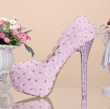 2016 Red Lace High Heels Rhinestone Wedding Dress Shoes for Bridal Dress More Heels Available Pink Bridesmaid Shoes