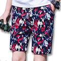2017 Hombres Del Verano Hasta La Rodilla Pantalones Cortos pantalones de Chándal de Los Hombres de Moda Casual Delgado Se Adapta Activo Playa Floral Shorts Bermudas Masculina
