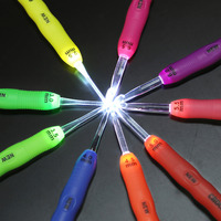 2 Designs 9Pcs Set Led Crochet Hooks Light Knitting Needles Multicolour Plastic For Yarn Weave Handcraft
