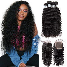 ALIBELE Malaysian Deep Wave Curly Bundles With Closure Virgin Hair Extension Malaysian Human Hair 3 4 Bundles With Lace Closure(China)