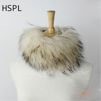 Free Shipping CDS125 Europe Hot Sale Round Knitted Raccoon Fur Neck Scarf Natural Fox Fur