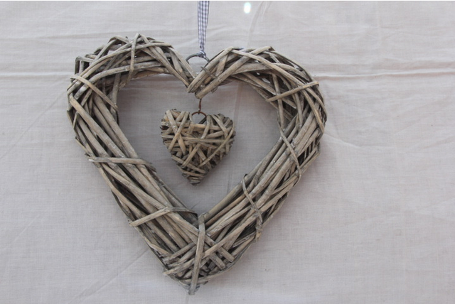 Wicker Hangenden Herz In Grau Weiss Kranz Farbe Rattan Sepak Takraw
