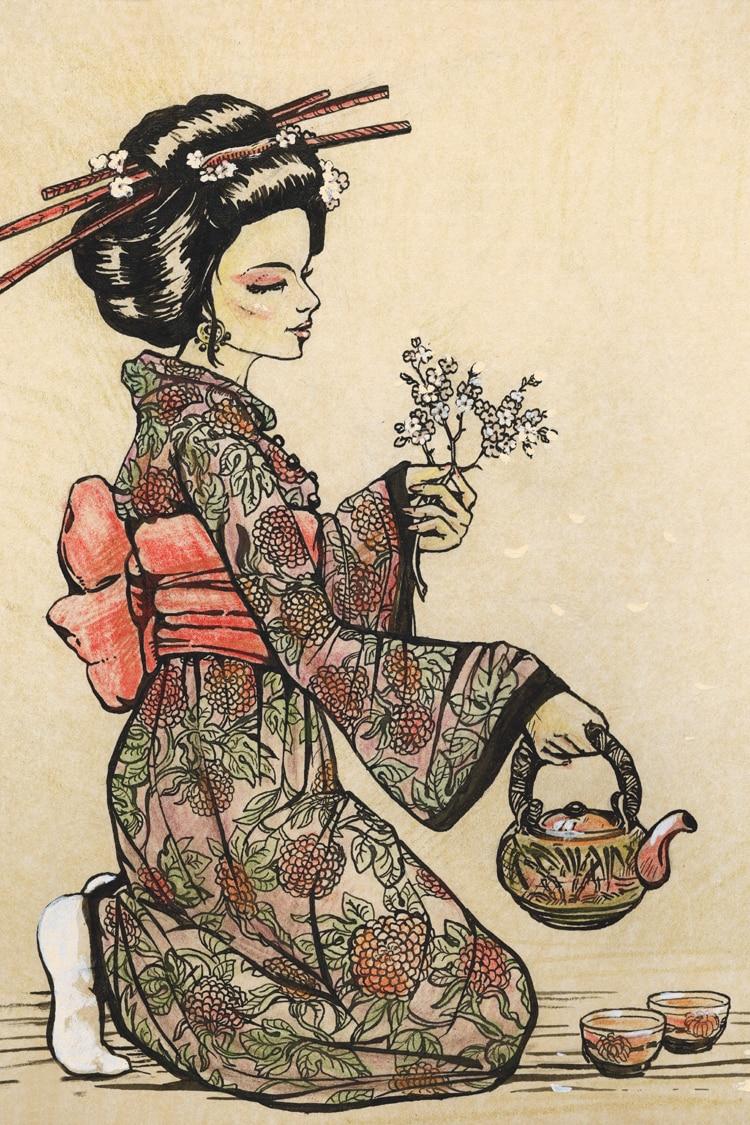 Portrait poster canvas painting japanese traditional art scenery print courtersan geisa beauty portrait of waitress pictures