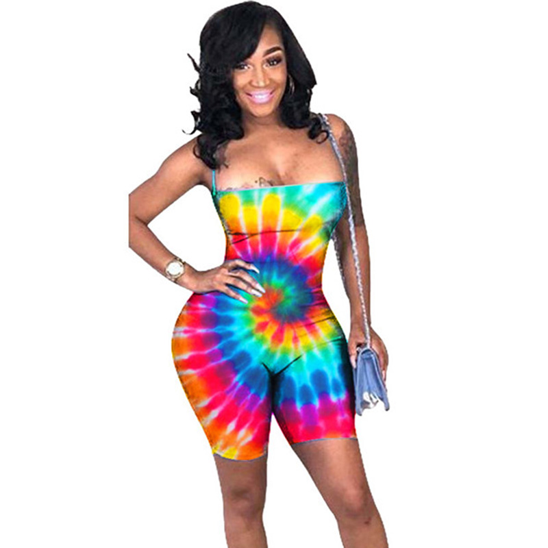 Sexy Bodycon One Piece   Jumpsuit   Shorts Playsuit New Women Colorful Tie Dye Fitness Romper Skinny Backless Summer Beach Bodysuits