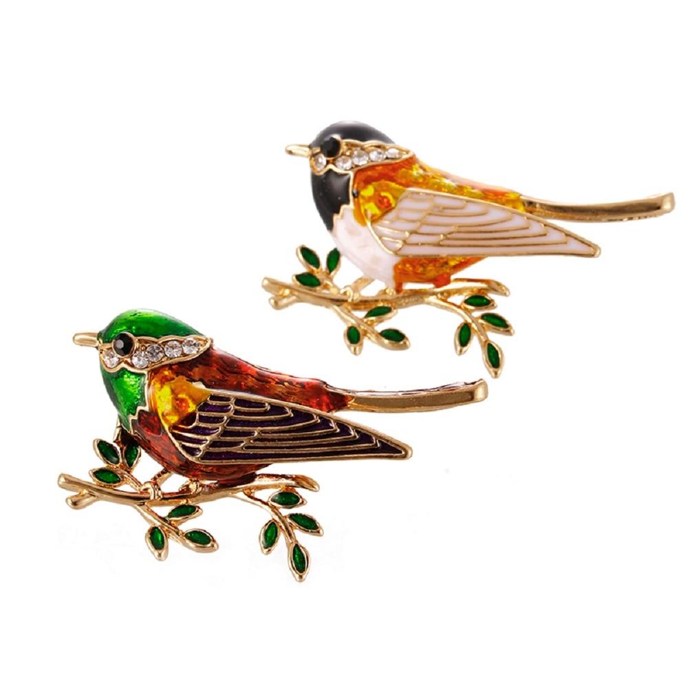 Suits Dress Banquet Brooch Rhinestone Enamel Oriole Bird Brooches Men Womens Alloy Bird Branch Brooch Pins High Quality Gift