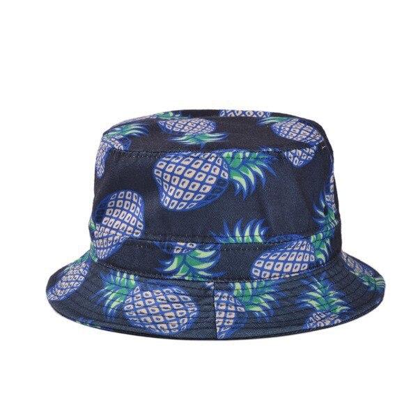 Новинка, модные милые летние белые Панамы с принтом ананаса, уличные Панамы для рыбалки с ананасом, солнцезащитные кепки для женщин и девочек - Цвет: navy